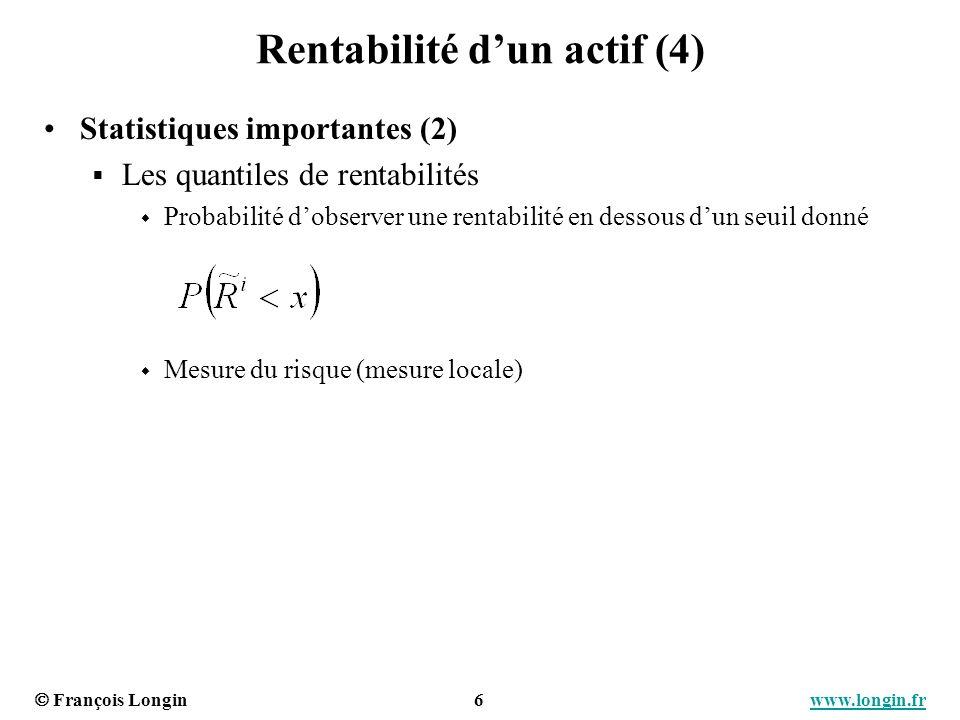François Longin 7 www.longin.frwww.longin.fr Rentabilité dun actif (5) Distribution historique des rentabilités – Histogramme Distribution paramétrique des rentabilités - Densité Exemple : la loi normale Deux paramètres : la moyenne et la variance (les deux premiers moments de la distribution)