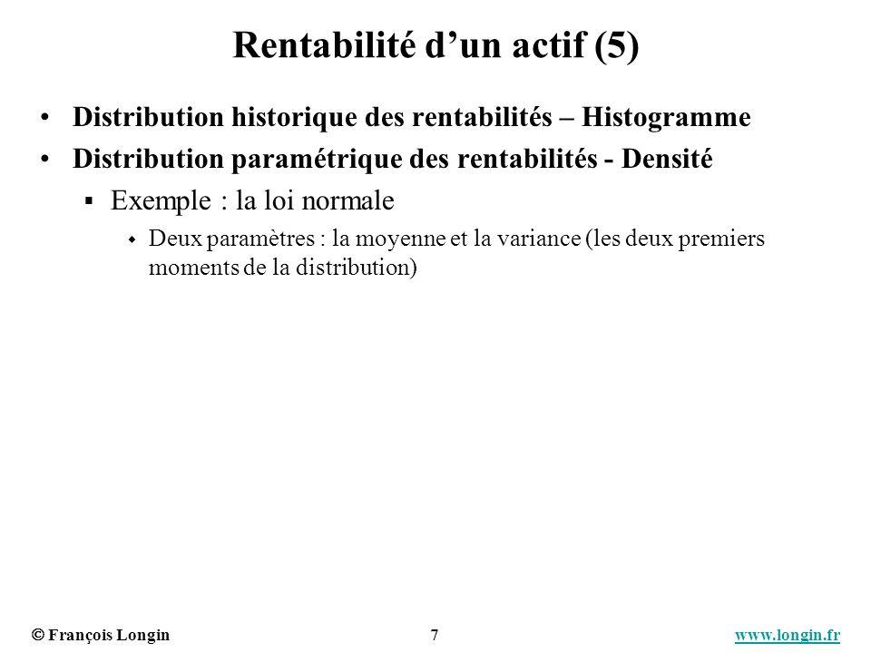 François Longin 7 www.longin.frwww.longin.fr Rentabilité dun actif (5) Distribution historique des rentabilités – Histogramme Distribution paramétriqu