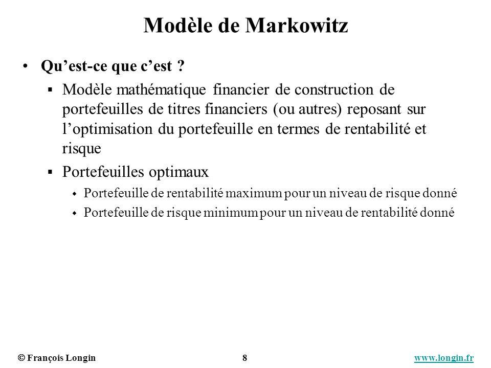 François Longin 9 www.longin.frwww.longin.fr Diversification du risque (1) Cas : portefeuille à deux actifs Actif 1: µ 1 = 10% et σ 1 = 20% Actif 2 : µ 2 = 15% et σ 2 = 30% Portefeuille : combinaison dactifs x 1 et x 2 : poids de chaque actif dans le portefeuille Objectif : trouver le portefeuille qui minimise le risque pour un niveau de rentabilité donné