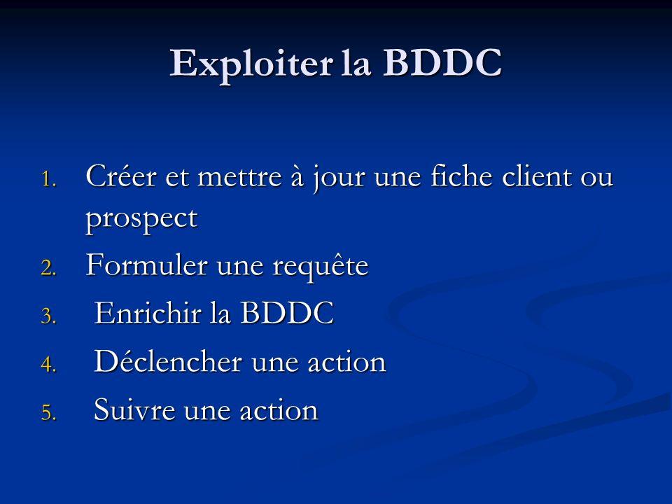 Exploiter la BDDC 1. Créer et mettre à jour une fiche client ou prospect 2. Formuler une requête 3. Enrichir la BDDC 4. Déclencher une action 5. Suivr