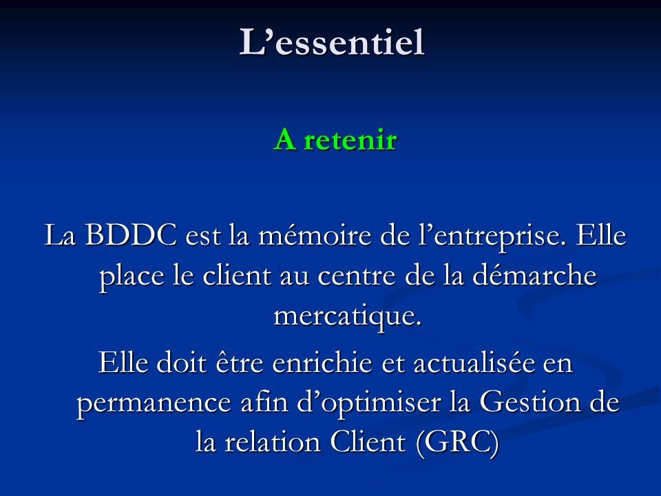 Lessentiel A retenir La BDDC est la mémoire de lentreprise. Elle place le client au centre de la démarche mercatique. Elle doit être enrichie et actua