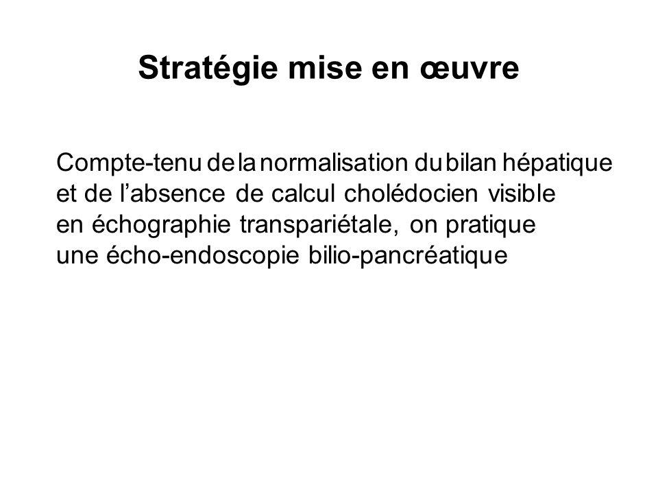 Stratégie mise en œuvre Compte-tenu de la normalisation du bilan hépatique et de labsence de calcul cholédocien visible en échographie transpariétale,