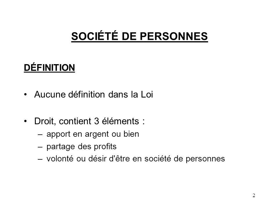 2 SOCIÉTÉ DE PERSONNES DÉFINITION Aucune définition dans la Loi Droit, contient 3 éléments : –apport en argent ou bien –partage des profits –volonté ou désir d être en société de personnes
