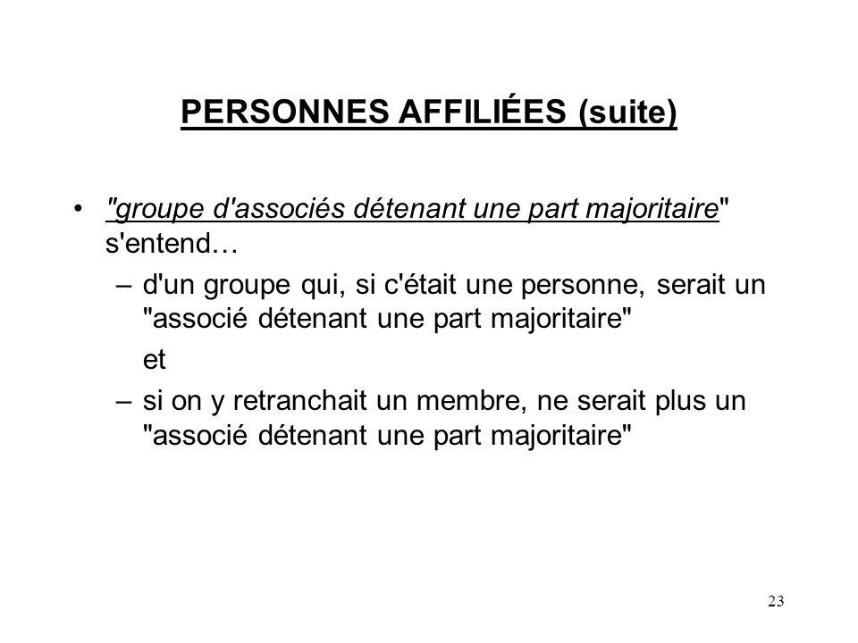 23 PERSONNES AFFILIÉES (suite)