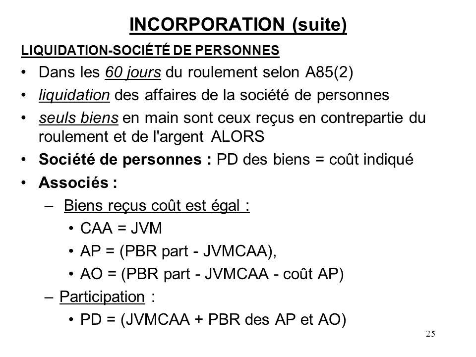 25 INCORPORATION (suite) LIQUIDATION-SOCIÉTÉ DE PERSONNES Dans les 60 jours du roulement selon A85(2) liquidation des affaires de la société de person