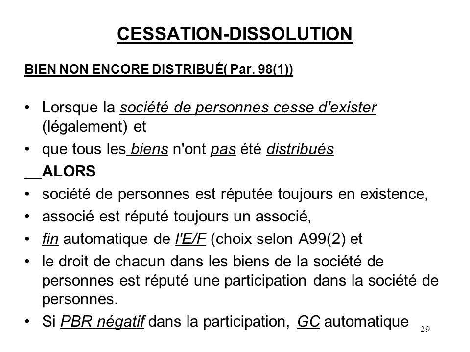 29 CESSATION-DISSOLUTION BIEN NON ENCORE DISTRIBUÉ( Par. 98(1)) Lorsque la société de personnes cesse d'exister (légalement) et que tous les biens n'o