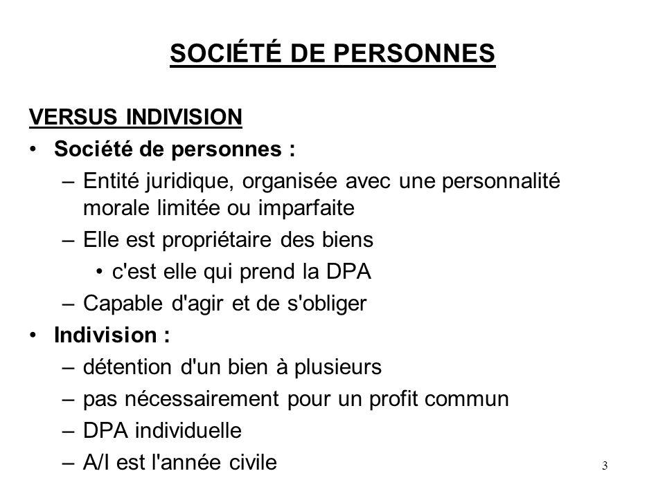 3 SOCIÉTÉ DE PERSONNES VERSUS INDIVISION Société de personnes : –Entité juridique, organisée avec une personnalité morale limitée ou imparfaite –Elle