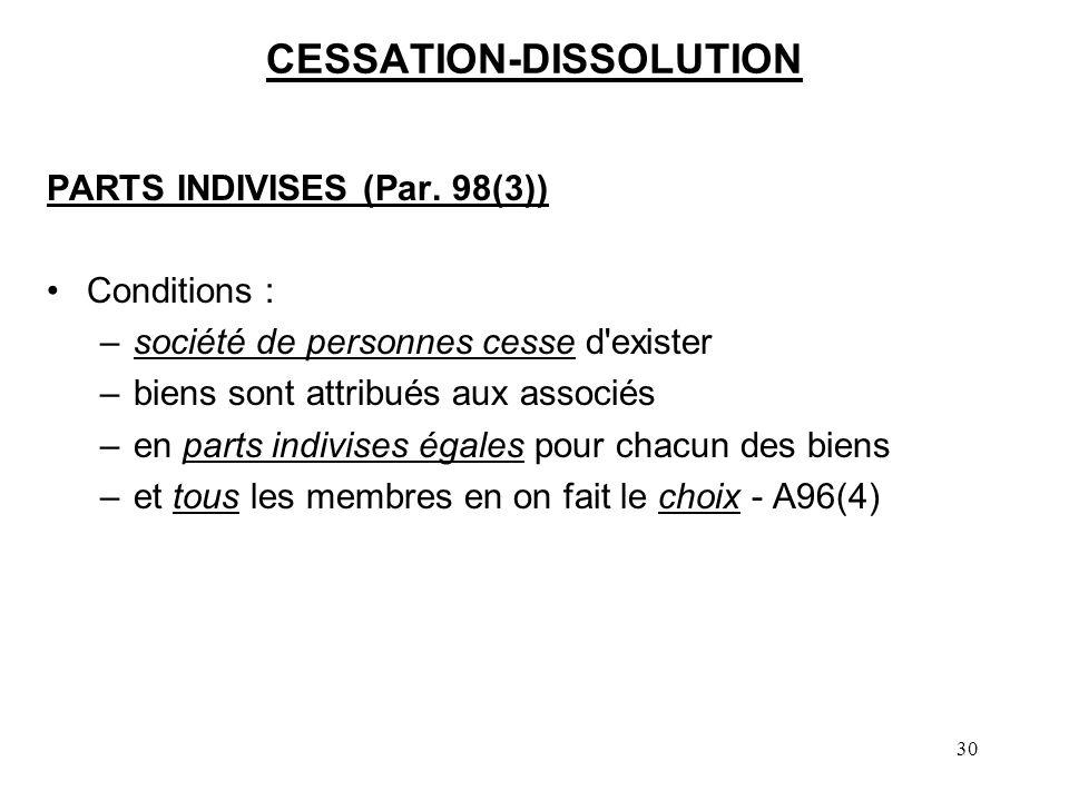 30 CESSATION-DISSOLUTION PARTS INDIVISES (Par. 98(3)) Conditions : –société de personnes cesse d'exister –biens sont attribués aux associés –en parts