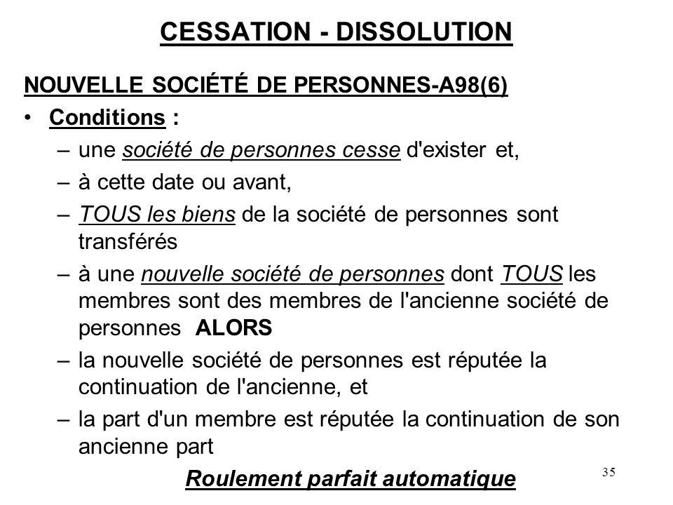 35 CESSATION - DISSOLUTION NOUVELLE SOCIÉTÉ DE PERSONNES-A98(6) Conditions : –une société de personnes cesse d'exister et, –à cette date ou avant, –TO