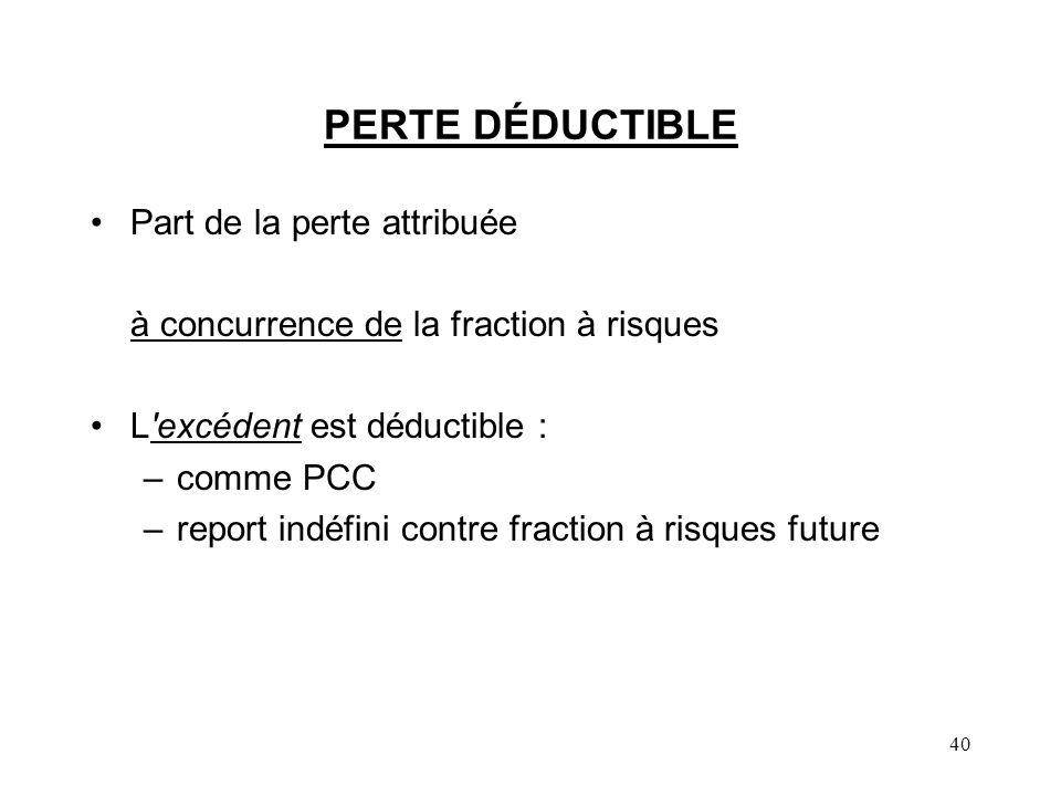 40 PERTE DÉDUCTIBLE Part de la perte attribuée à concurrence de la fraction à risques L'excédent est déductible : –comme PCC –report indéfini contre f
