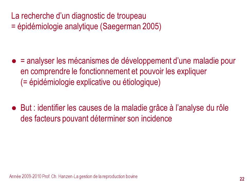 Année 2009-2010 Prof. Ch. Hanzen-La gestion de la reproduction bovine 22 La recherche dun diagnostic de troupeau = épidémiologie analytique (Saegerman