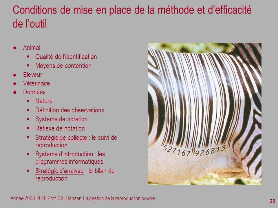 Année 2009-2010 Prof. Ch. Hanzen-La gestion de la reproduction bovine 28 Conditions de mise en place de la méthode et defficacité de loutil Animal Qua