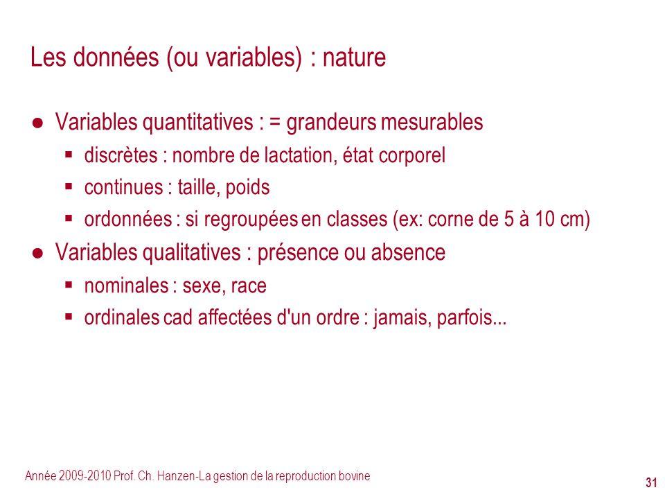 Année 2009-2010 Prof. Ch. Hanzen-La gestion de la reproduction bovine 31 Les données (ou variables) : nature Variables quantitatives : = grandeurs mes