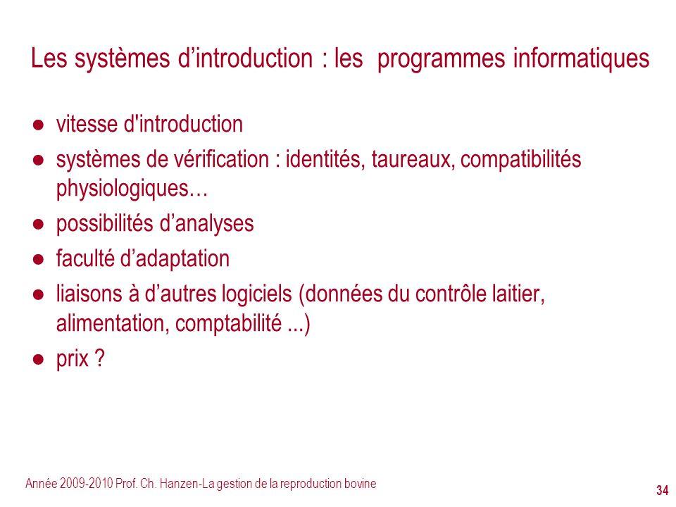 Année 2009-2010 Prof. Ch. Hanzen-La gestion de la reproduction bovine 34 Les systèmes dintroduction : les programmes informatiques vitesse d'introduct
