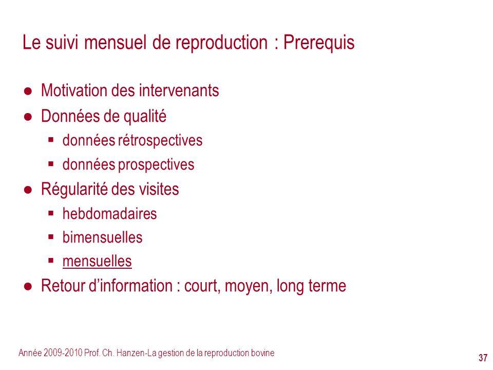 Année 2009-2010 Prof. Ch. Hanzen-La gestion de la reproduction bovine 37 Le suivi mensuel de reproduction : Prerequis Motivation des intervenants Donn