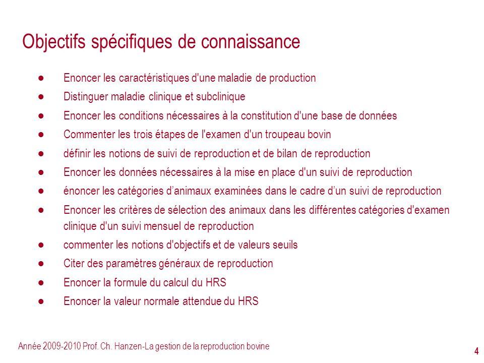 Année 2009-2010 Prof. Ch. Hanzen-La gestion de la reproduction bovine 4 Objectifs spécifiques de connaissance Enoncer les caractéristiques d'une malad