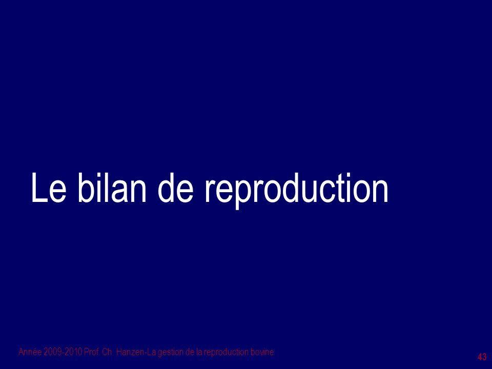 Année 2009-2010 Prof. Ch. Hanzen-La gestion de la reproduction bovine 43 Le bilan de reproduction