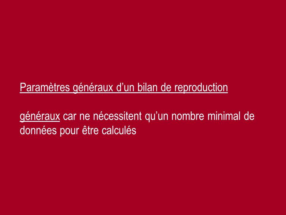 Année 2009-2010 Prof. Ch. Hanzen-La gestion de la reproduction bovine 46 Paramètres généraux dun bilan de reproduction généraux car ne nécessitent quu