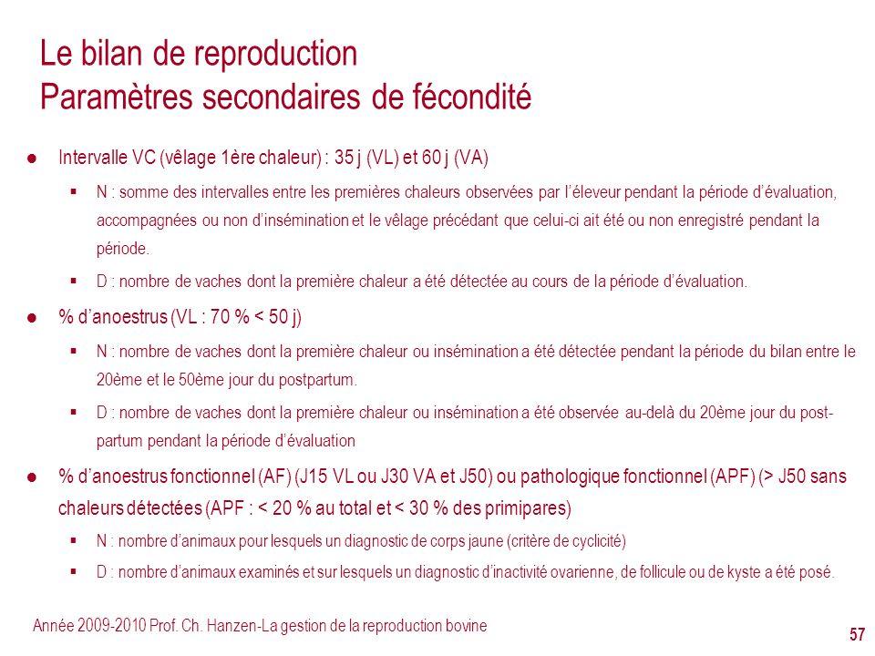 Année 2009-2010 Prof. Ch. Hanzen-La gestion de la reproduction bovine 57 Le bilan de reproduction Paramètres secondaires de fécondité Intervalle VC (v