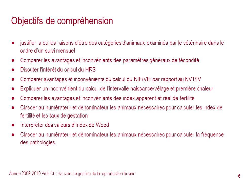 Année 2009-2010 Prof. Ch. Hanzen-La gestion de la reproduction bovine 6 Objectifs de compréhension justifier la ou les raisons dêtre des catégories da