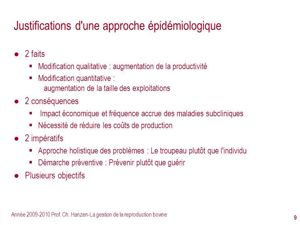 Année 2009-2010 Prof. Ch. Hanzen-La gestion de la reproduction bovine 9 Justifications d'une approche épidémiologique 2 faits Modification qualitative