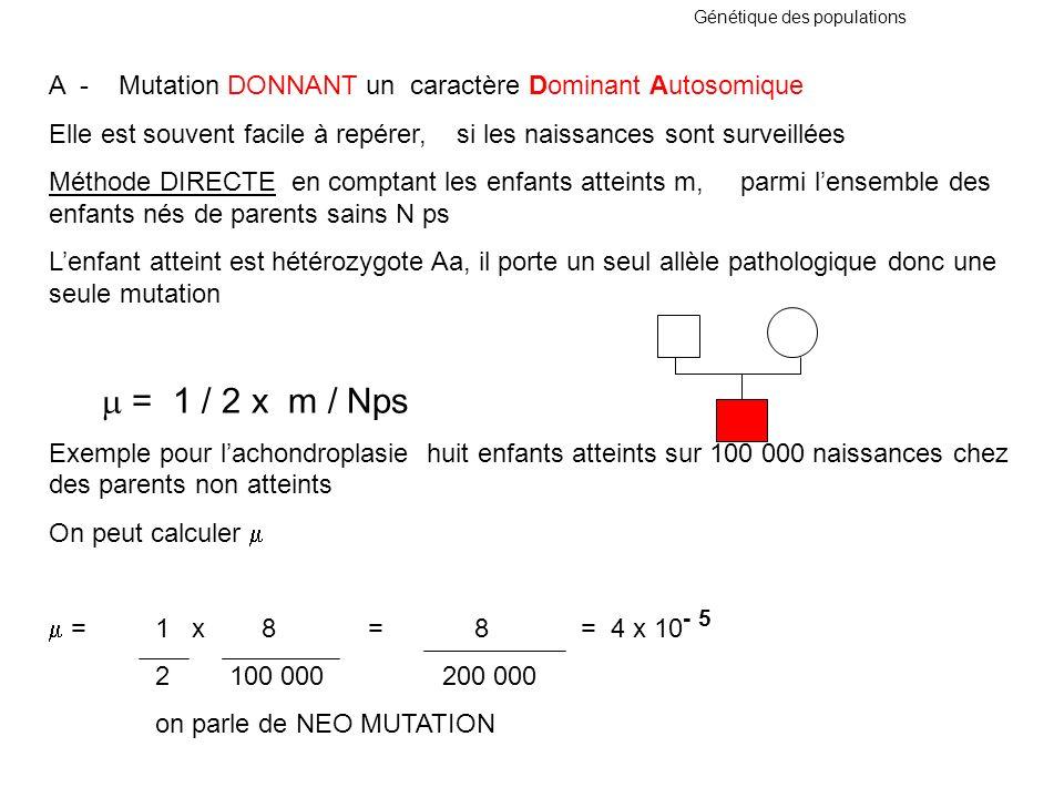 Génétique des populations A - Mutation DONNANT un caractère Dominant Autosomique Elle est souvent facile à repérer, si les naissances sont surveillées
