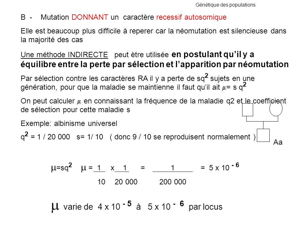 Génétique des populations B - Mutation DONNANT un caractère recessif autosomique Elle est beaucoup plus difficile à reperer car la néomutation est sil