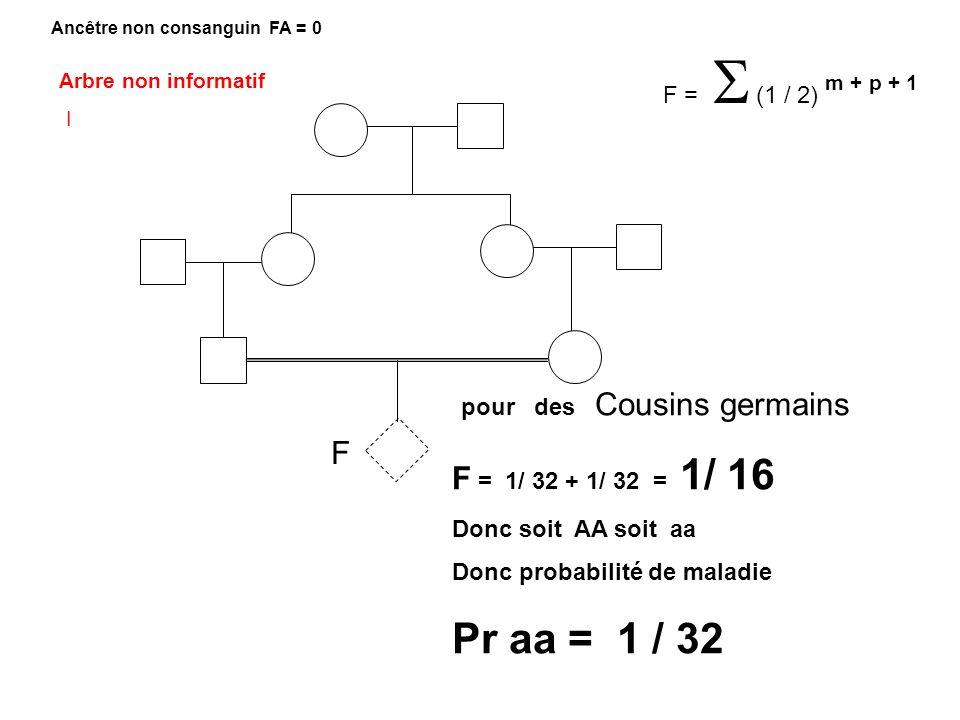 F pour des Cousins germains F = 1/ 32 + 1/ 32 = 1/ 16 Donc soit AA soit aa Donc probabilité de maladie Pr aa = 1 / 32 F = (1 / 2) m + p + 1 Ancêtre no