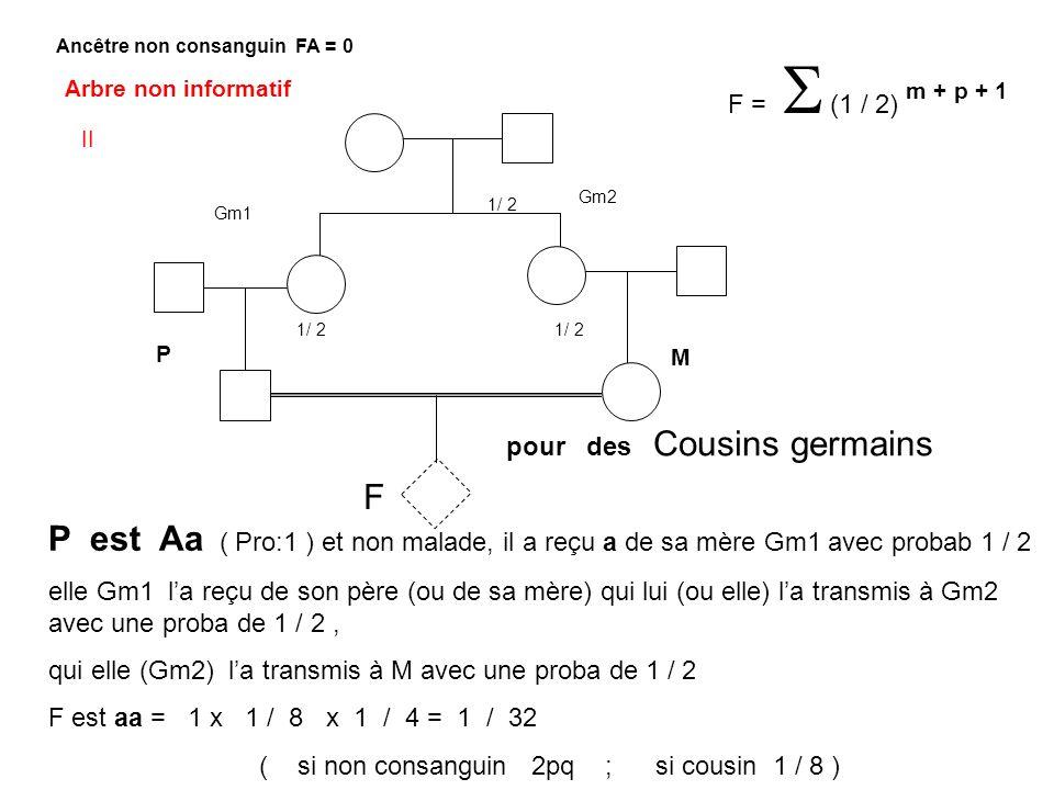 F pour des Cousins germains F = (1 / 2) m + p + 1 Ancêtre non consanguin FA = 0 Arbre non informatif P est Aa ( Pro:1 ) et non malade, il a reçu a de