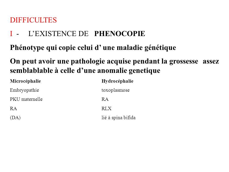 DIFFICULTES I - LEXISTENCE DE PHENOCOPIE Phénotype qui copie celui d une maladie génétique On peut avoir une pathologie acquise pendant la grossesse a