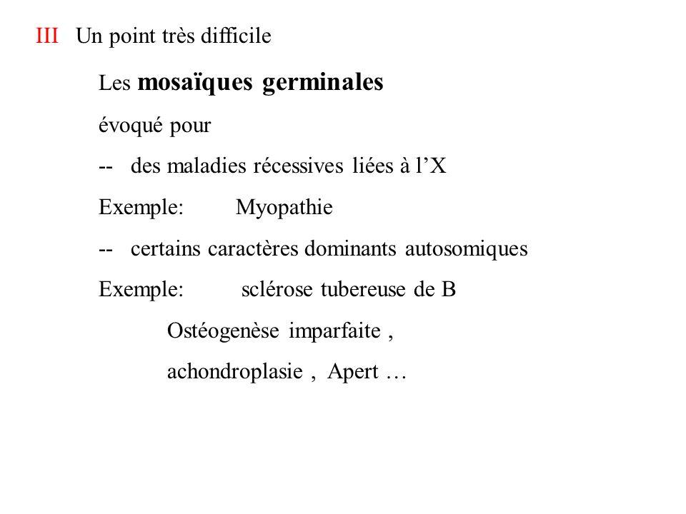 III Un point très difficile Les mosaïques germinales évoqué pour -- des maladies récessives liées à lX Exemple: Myopathie -- certains caractères domin