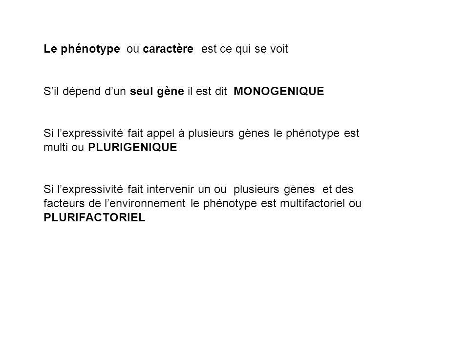 Le phénotype ou caractère est ce qui se voit Sil dépend dun seul gène il est dit MONOGENIQUE Si lexpressivité fait appel à plusieurs gènes le phénotyp