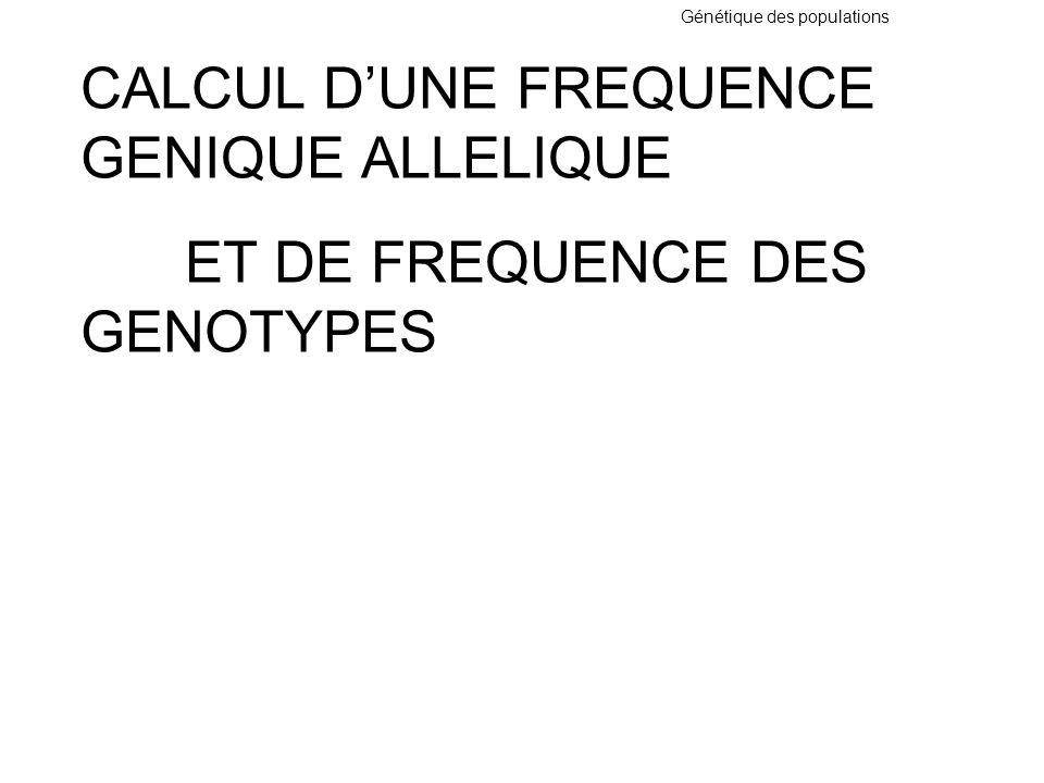 Génétique des populations Exemple : Une maladie RA touche un enfant sur 10 000 qui sont homozygotes aa Donc q 2 = 1 / 10 000 donc q =1 / 100 p = 1 – q = 1 – 1 /100 = p = 99 / 100 Donc fréquence des allèles: p = 99 / 100 q = 1 / 100 fréquence des génotypes: aa les malades q 2 = 1 / 10 000 Aa les hétérozygotes 2pq= 2x 99/ 100 x 1 / 100 = ± 1 / 50 AA homozygotes sains p 2 = ( 99 / 100 ) 2 = 9801 / 10 000 Donc les hétérozygotes ont une fréquence de 1 / 50 si la maladie est rare les hétérozygotes sont fréquents