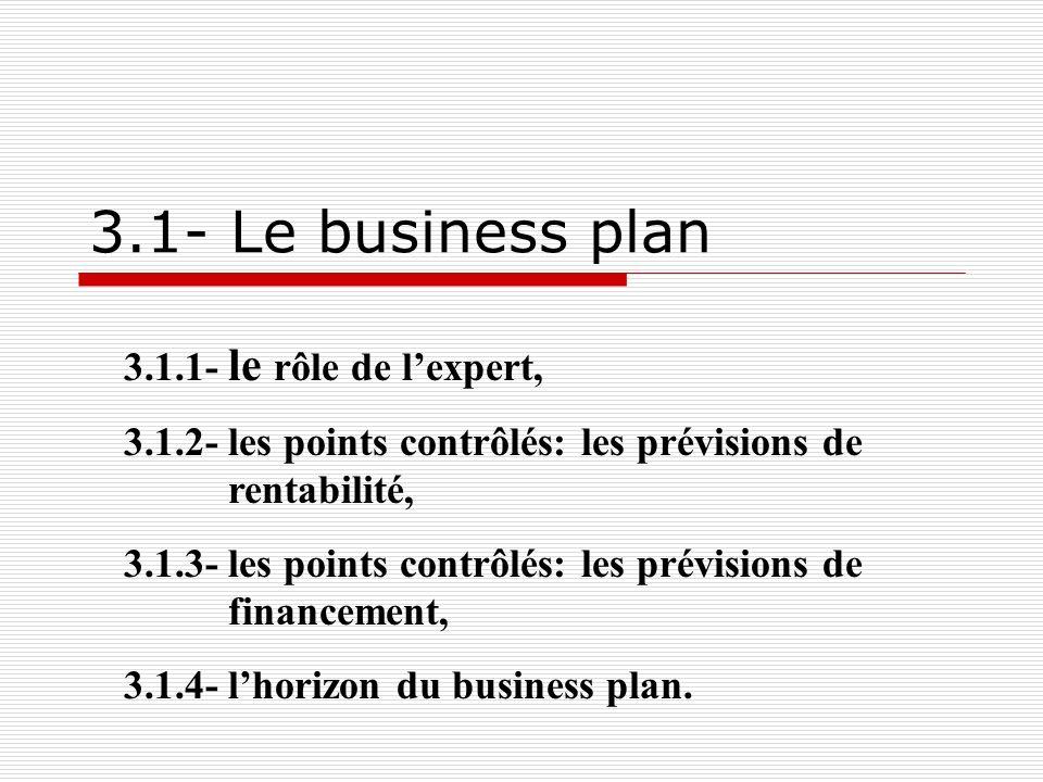 ae ee 13 3.1.1- Le rôle de lexpert Il nélabore pas le business plan.