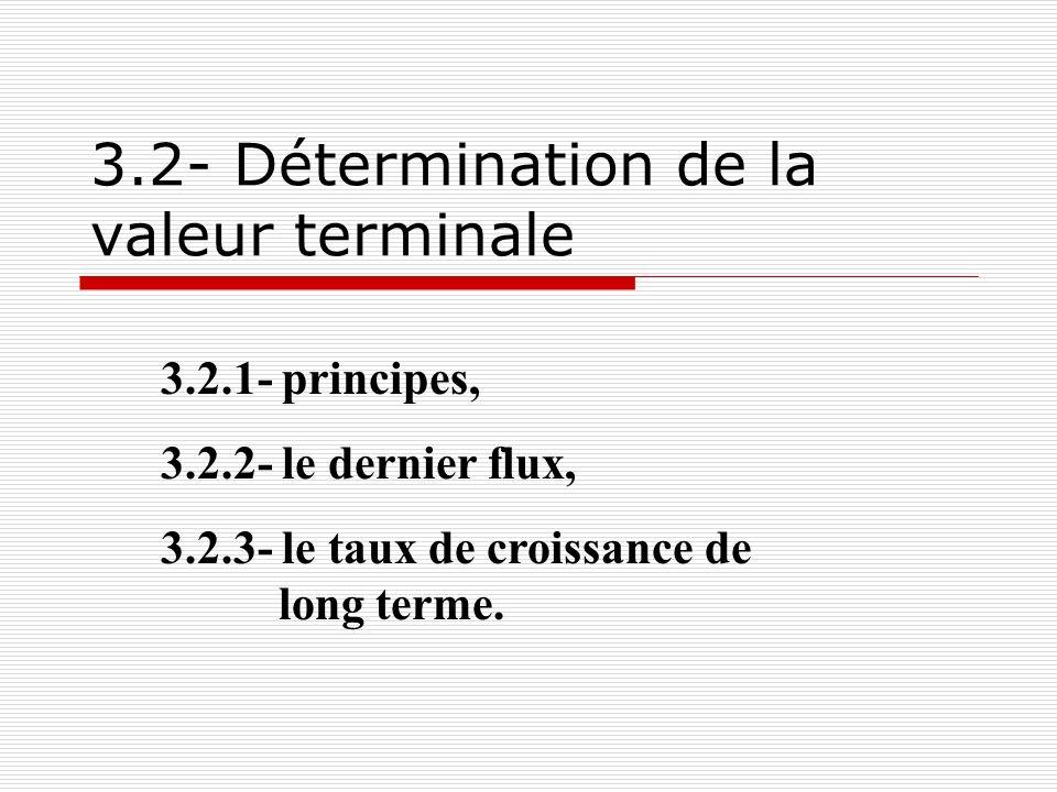 ae ee 24 3.2.1- Principe La valeur terminale se définit comme suit : F N /k-g Elle pose donc le problème du dernier flux, du taux dactualisation, du taux de croissance de long terme.