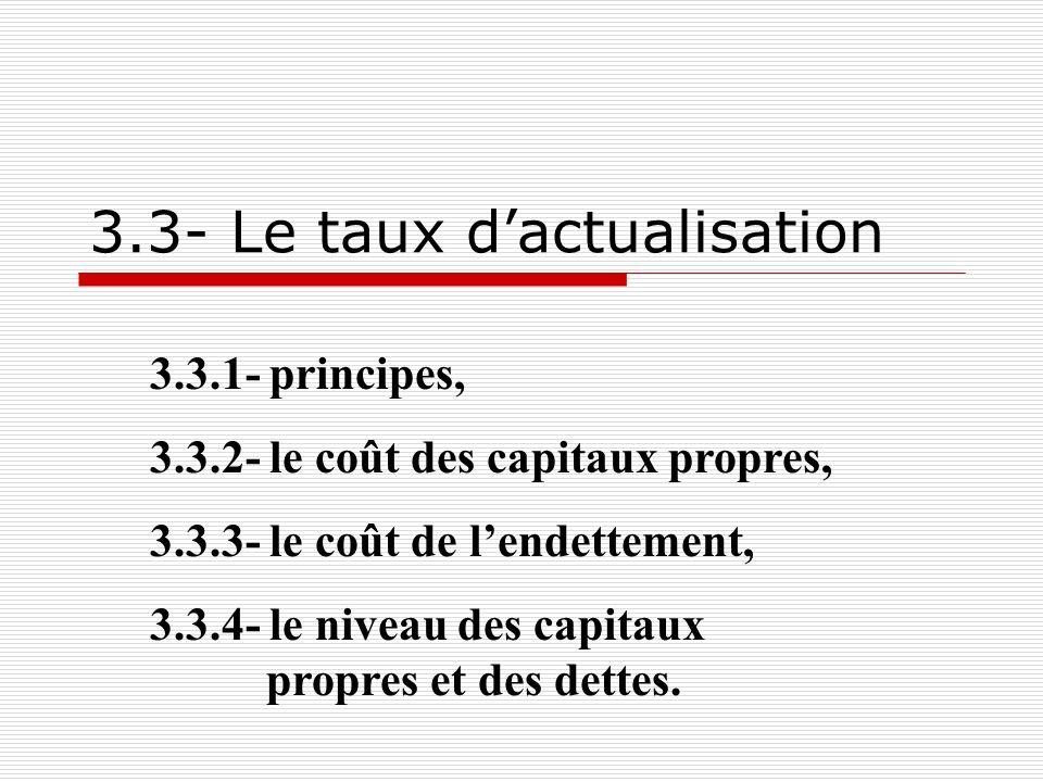 ae ee 31 3.3.1- Principe Le taux dactualisation est le coût moyen pondéré des fonds : [k cp *CP+(1-T)*i*D]/(CP+D) Il faut donc sinterroger : sur le coût des sources de financement, sur la détermination des capitaux propres et des dettes.