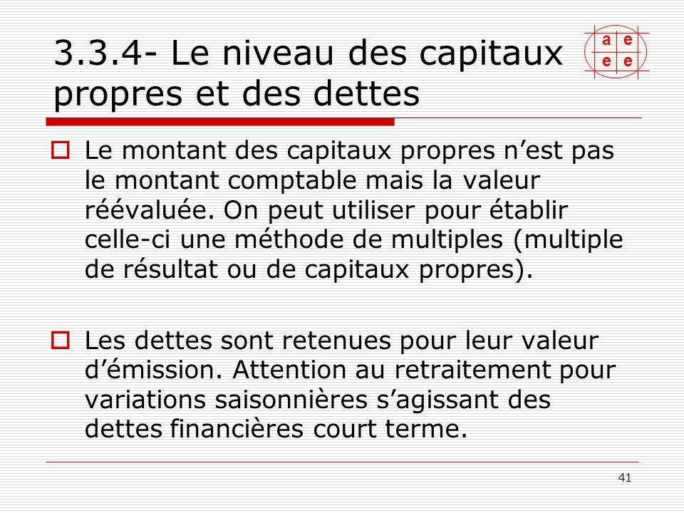 3.4-Le passage de la valeur dentreprise à la valeur des titres 3.4.1- cas général, 3.4.2- cas particulier de la trésorerie excédentaire, 3.4.3- autres retraitements.