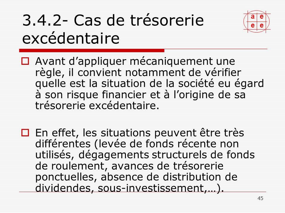 ae ee 46 3.4.2- Cas de trésorerie excédentaire Le groupe de travail na pas souhaité recommander un seul traitement.
