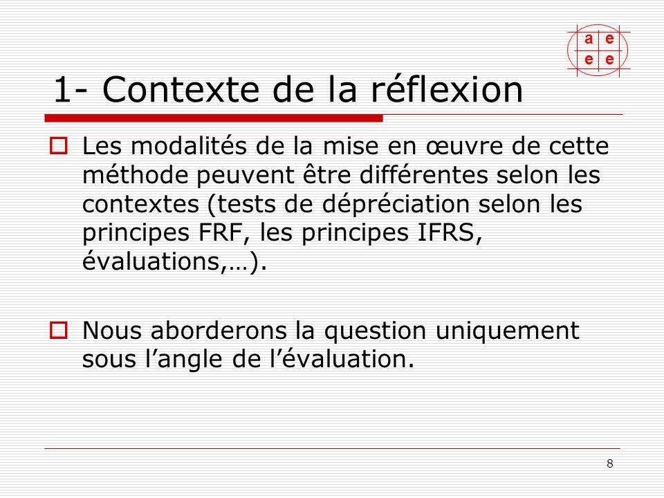 ae ee 9 1- Contexte de la réflexion La méthode des DCF est utilisée pour évaluer des natures dactifs très différentes: entreprises / titres, actifs identifiables (marques, brevets, immobilier,…).