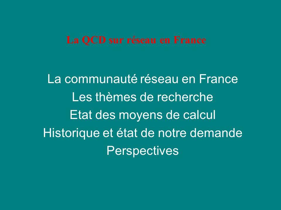 La QCD sur réseau en France La communauté réseau en France Les thèmes de recherche Etat des moyens de calcul Historique et état de notre demande Perspectives