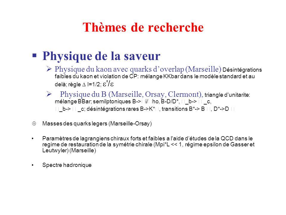 Thèmes de recherche Physique de la saveur Physique du kaon avec quarks doverlap (Marseille) Désintégrations faibles du kaon et violation de CP: mélange KKbar dans le modèle standard et au delà; règle I=1/2; / Physique du B (Marseille, Orsay, Clermont), triangle d unitarite: mélange BBar; semilptoniques B-> i/ ho, B-D/D*, _b-> _c, _b-> _c; désintégrations rares B->K*, transitions B*-> B, D*->D Masses des quarks legers (Marseille-Orsay) Paramètres de lagrangiens chiraux forts et faibles a l aide détudes de la QCD dans le regime de restauration de la symétrie chirale (Mpi*L << 1, régime epsilon de Gasser et Leutwyler) (Marseille) Spectre hadronique