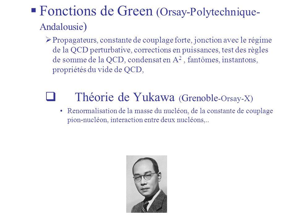 Fonctions de Green (Orsay-Polytechnique- Andalousie ) Propagateurs, constante de couplage forte, jonction avec le régime de la QCD perturbative, corrections en puissances, test des règles de somme de la QCD, condensat en A 2, fantômes, instantons, propriétés du vide de QCD, Théorie de Yukawa ( Grenoble -Orsay-X) Renormalisation de la masse du nucléon, de la constante de couplage pion-nucléon, interaction entre deux nucléons,..
