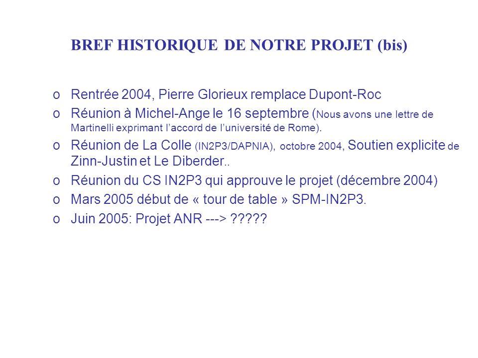 oRentrée 2004, Pierre Glorieux remplace Dupont-Roc oRéunion à Michel-Ange le 16 septembre ( Nous avons une lettre de Martinelli exprimant laccord de l