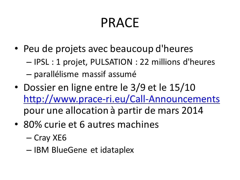 PRACE Peu de projets avec beaucoup d heures – IPSL : 1 projet, PULSATION : 22 millions d heures – parallélisme massif assumé Dossier en ligne entre le 3/9 et le 15/10 http://www.prace-ri.eu/Call-Announcements pour une allocation à partir de mars 2014 http://www.prace-ri.eu/Call-Announcements 80% curie et 6 autres machines – Cray XE6 – IBM BlueGene et idataplex