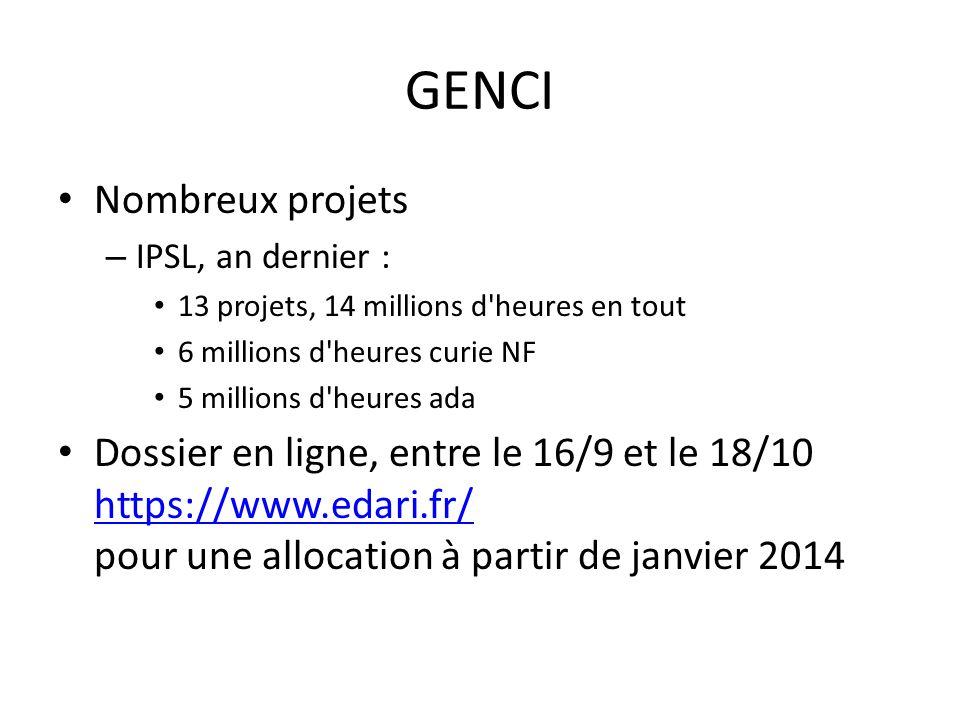 GENCI Nombreux projets – IPSL, an dernier : 13 projets, 14 millions d'heures en tout 6 millions d'heures curie NF 5 millions d'heures ada Dossier en l