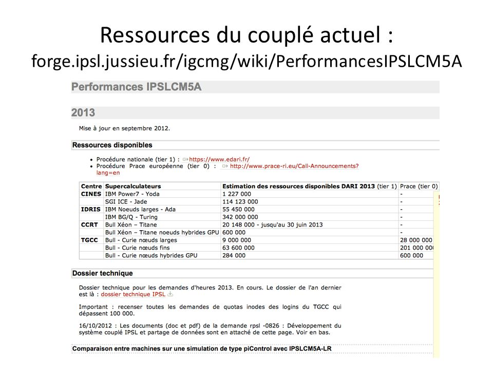 Ressources du couplé actuel : forge.ipsl.jussieu.fr/igcmg/wiki/PerformancesIPSLCM5A