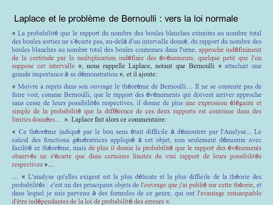 Laplace et le problème de Bernoulli : vers la loi normale « La probabilit é que le rapport du nombre des boules blanches extraites au nombre total des