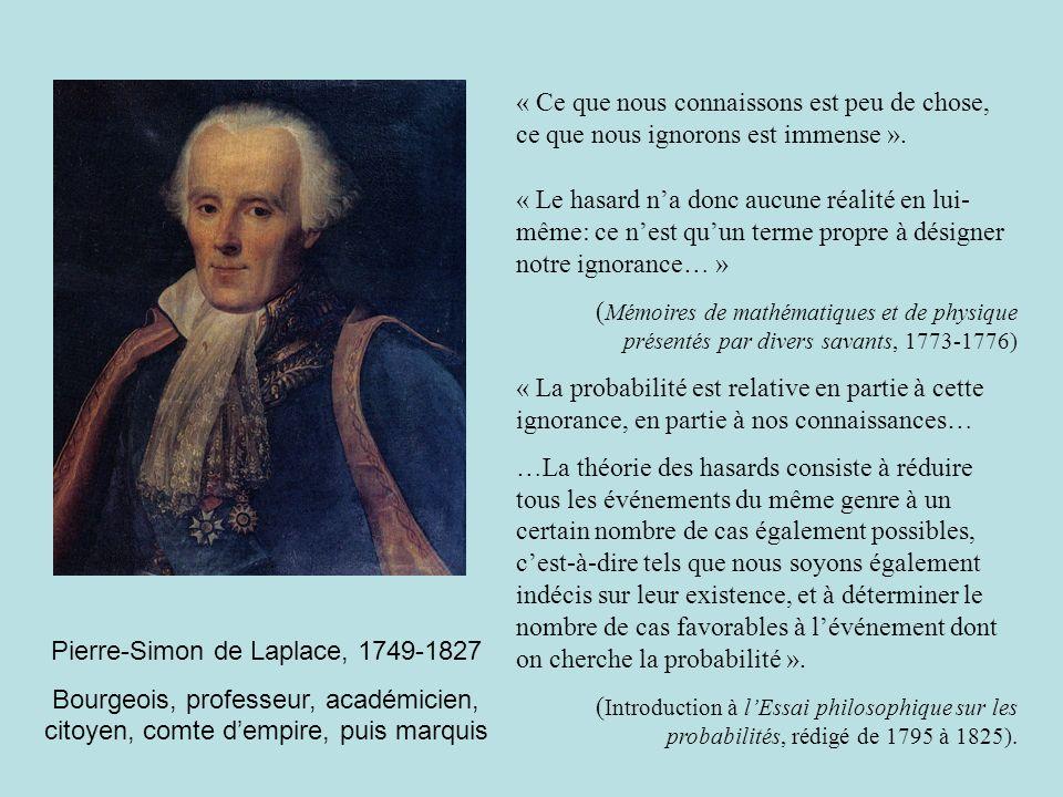 Pierre-Simon de Laplace, 1749-1827 Bourgeois, professeur, académicien, citoyen, comte dempire, puis marquis « Ce que nous connaissons est peu de chose