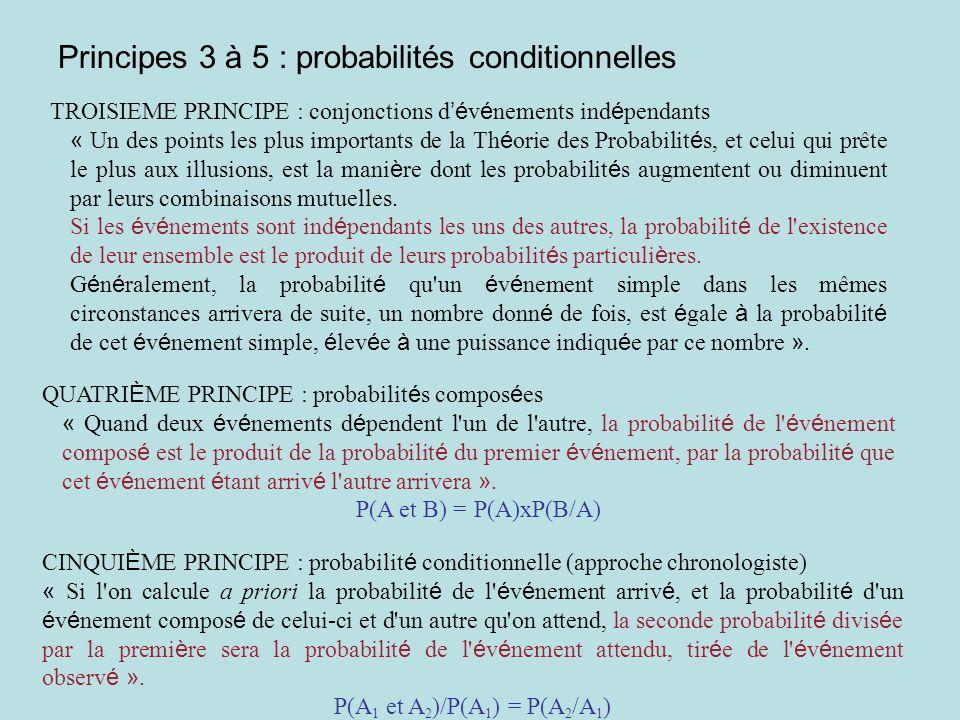 Principes 6 et 7 : probabilités des causes SIXI È ME PRINCIPE : Chacune des causes, auxquelles un é v é nement observ é peut-être attribu é, est indiqu é e avec d autant plus de vraisemblance, qu il est plus probable que cette cause é tant suppos é e exister, l é v é nement aura lieu ; … » Si C 1 et C 2 sont deux causes qui peuvent produire un é v é nement E avec les probabilit é s respectives P(E/C 1 ) et P(E/C 2 ) et si P(E/C 1 ) > P(E/C 2 ), alors les probabilit é s des causes C 1 et C 2 sachant qu on a observ é E, sont dans le même ordre : P(C 1 /E) > P(C 2 /E)....