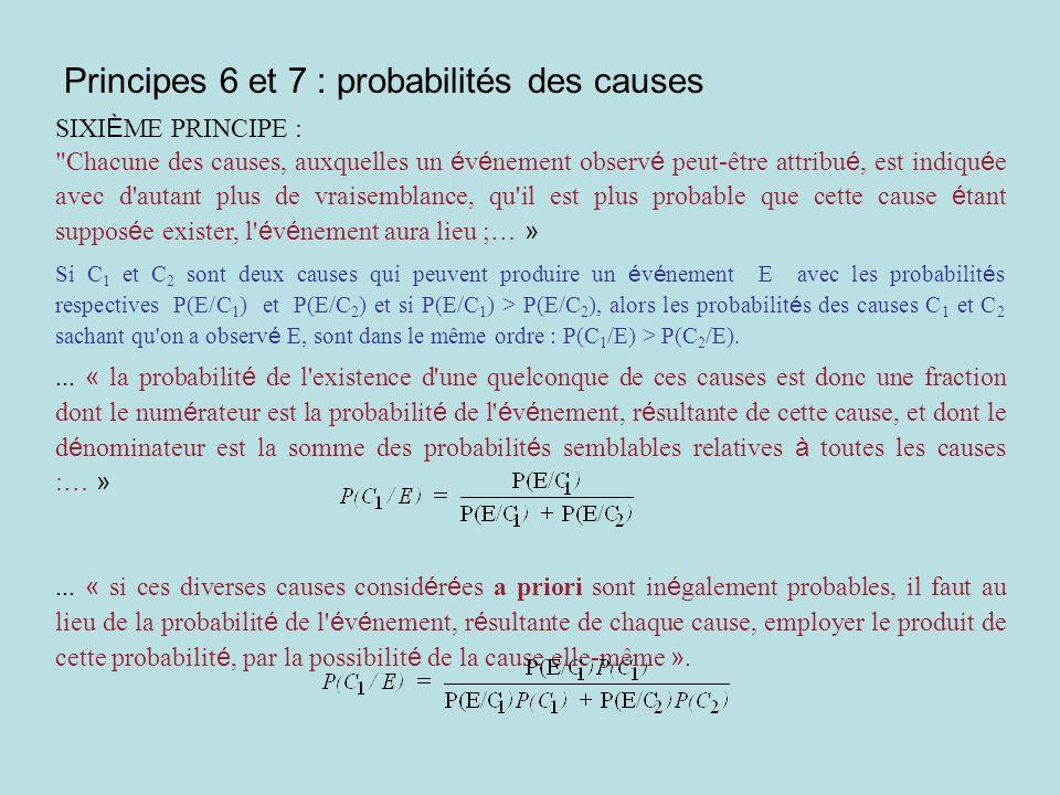 Formule des probabilités totales et formule de « Bayes » SEPTI È ME PRINCIPE : « La probabilit é d un é v é nement futur est la somme des produits de la probabilit é de chaque cause, tir é e de l é v é nement observ é, par la probabilit é que, cette cause existant, l é v é nement futur aura lieu.